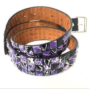 Leather punk purple paint splatter studded belt